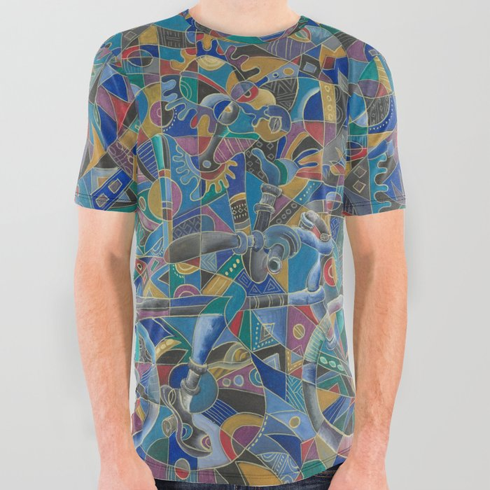 The Last Cyclist all over graphic tshirt