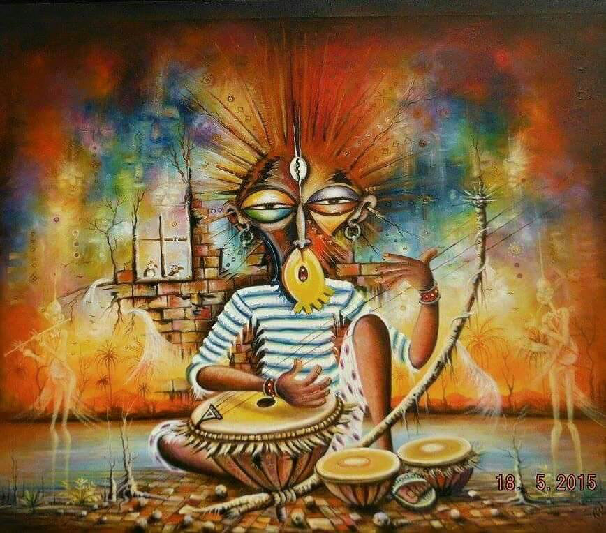 The Storyteller surreal African painting