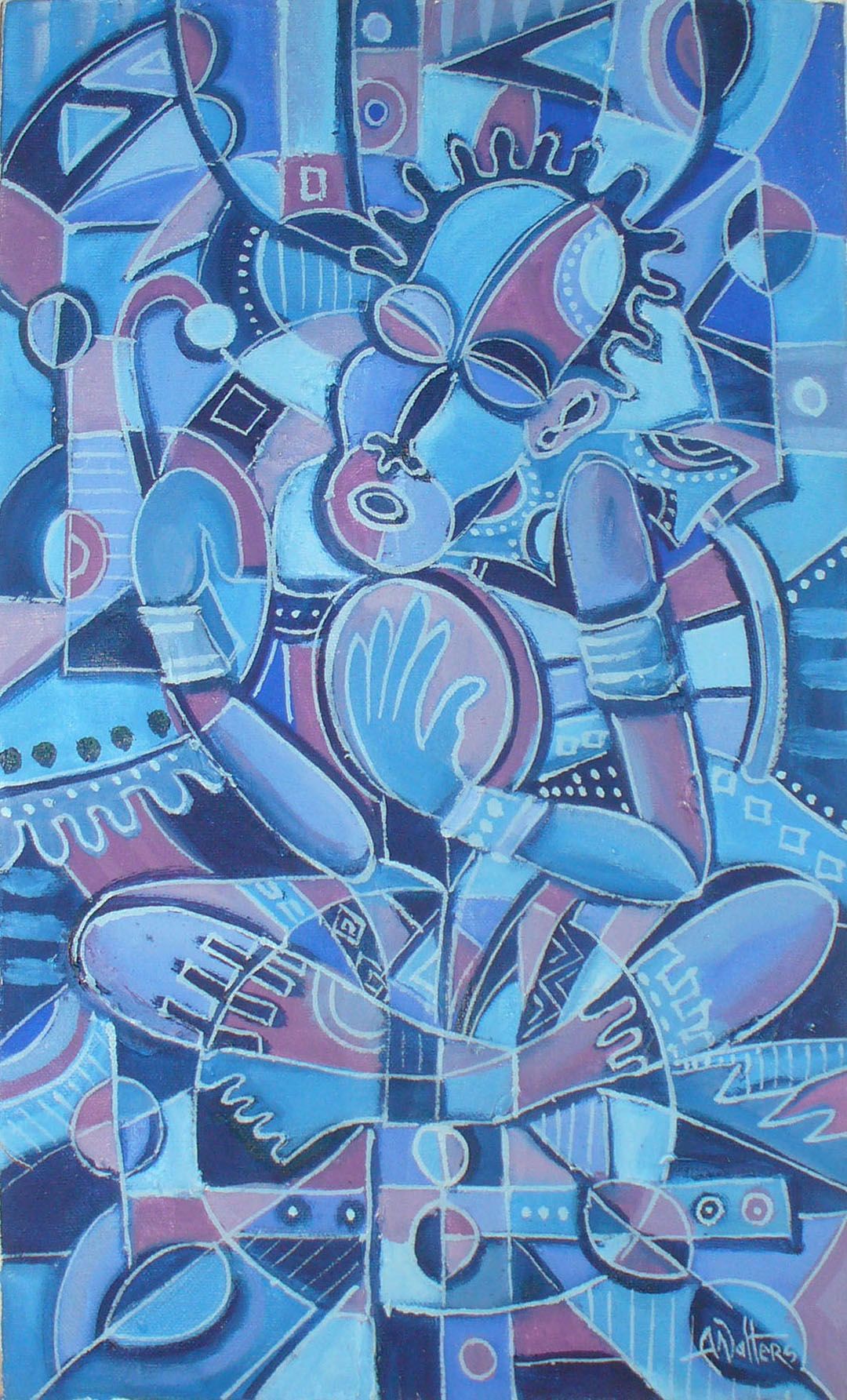 Drummer and the Flutist 2 music painting