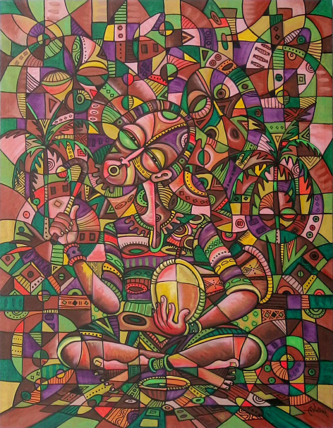 The Drummer is a surrealistic oil painting of an African drummer.