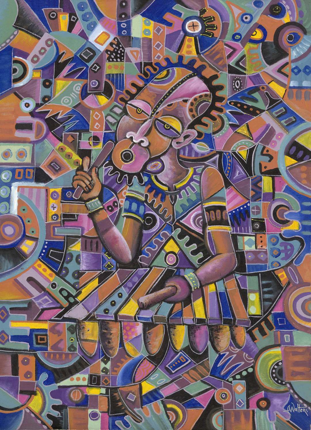 African painting of a musician. Musicians are, perhaps, the favorite theme of artist Angu Walters.