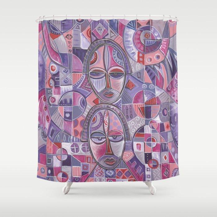 Three on One pink ladies shower curtain