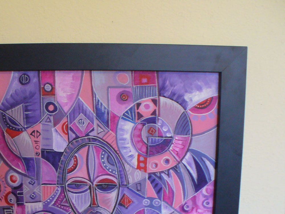 Three on One painting framed