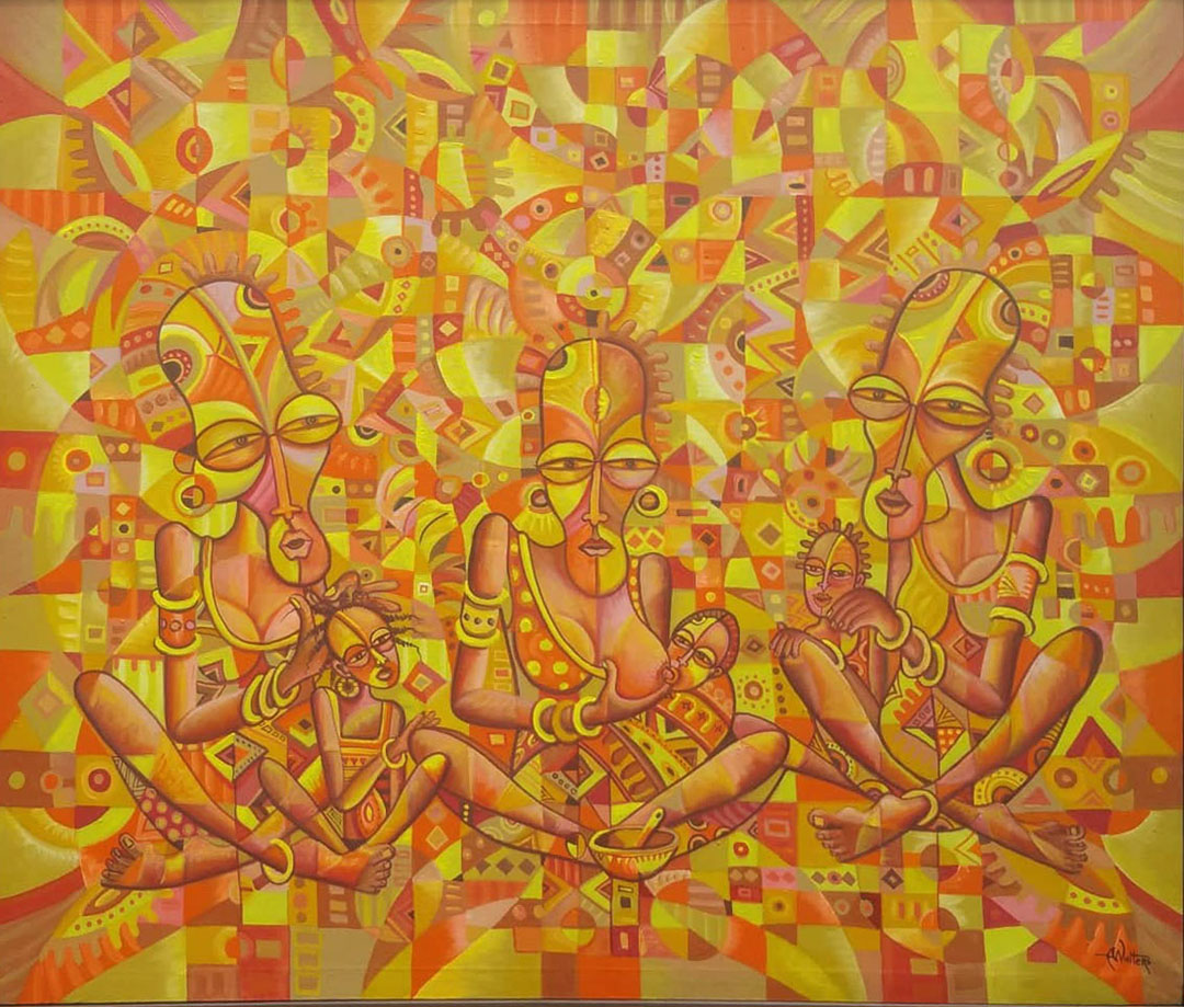Here is a yellow surreal painting from Cameroon of three nursing mothers.