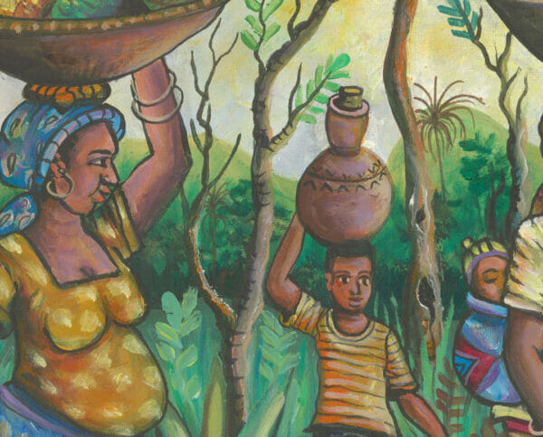 To the Market African painting close