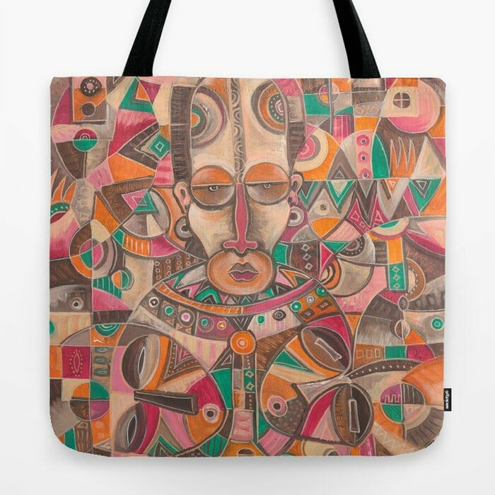 twin mother and babies painting on tote bag