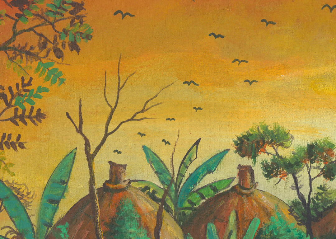 Village painting of African villagers close
