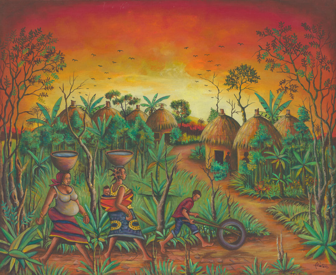 African villagers returning home at sunset.