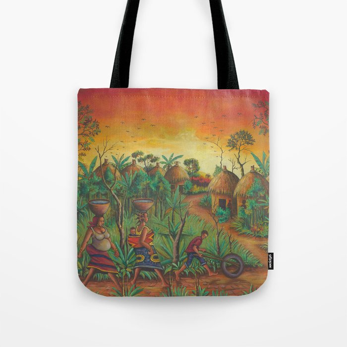 Village painting tote bag