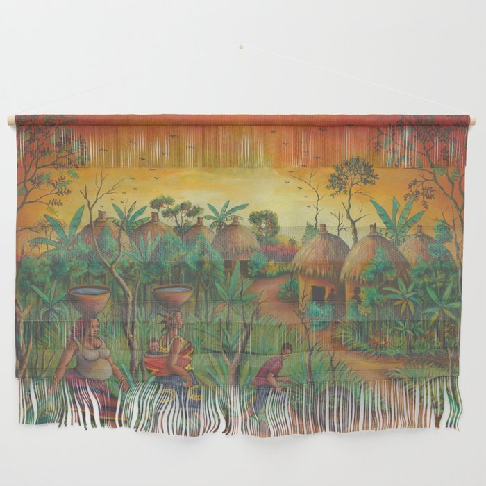 Village painting wall hanging