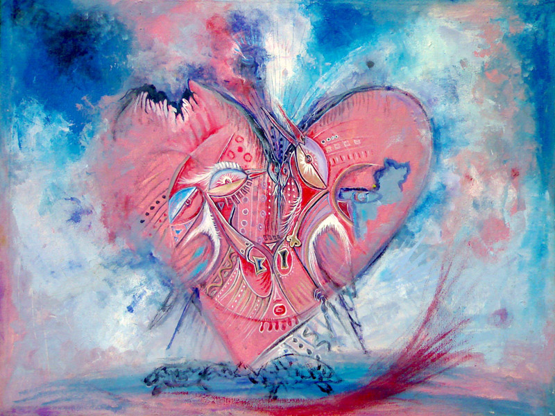 This surreal painting features a heart painted in reds and blues to depict romance.